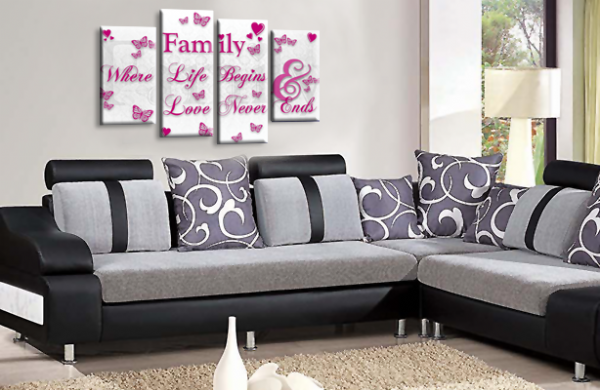 Family Quote Canvas Wall Art Picture Home Decor Print White Plum